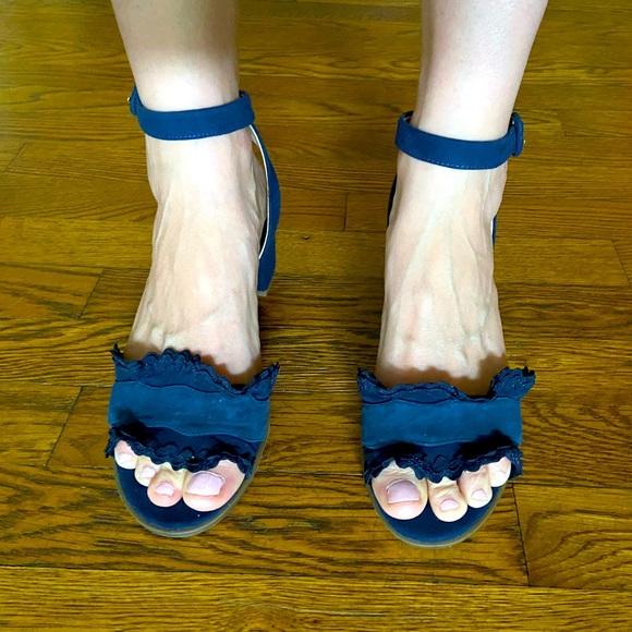 Navy suede heed sandals